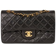 bff4b625f31c05 1994 Chanel Black Quilted Lambskin Vintage Small Classic Double Flap Bag