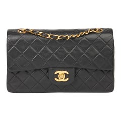 1994 Chanel Black Quilted Lambskin Vintage Small Classic Double Flap