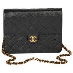 1994 Chanel Black Quilted Lambskin Vintage Small Classic Single Flap Bag