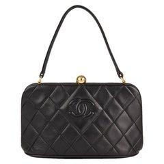 1994 Chanel Black Quilted Lambskin Vintage Timeless Frame Bag