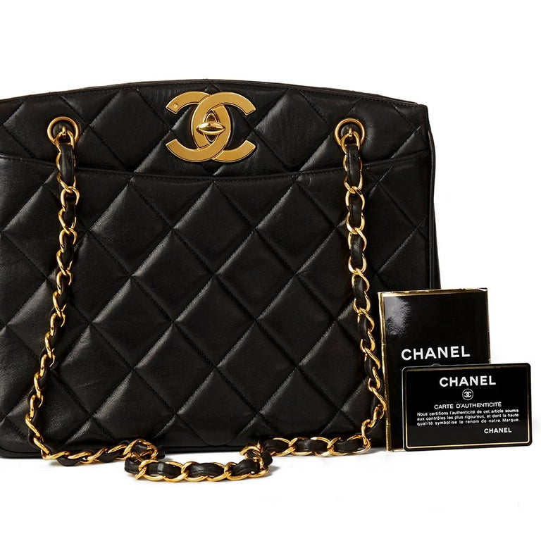 1994 Chanel Black Quilted Lambskin Vintage XL Timeless Shoulder Bag 6