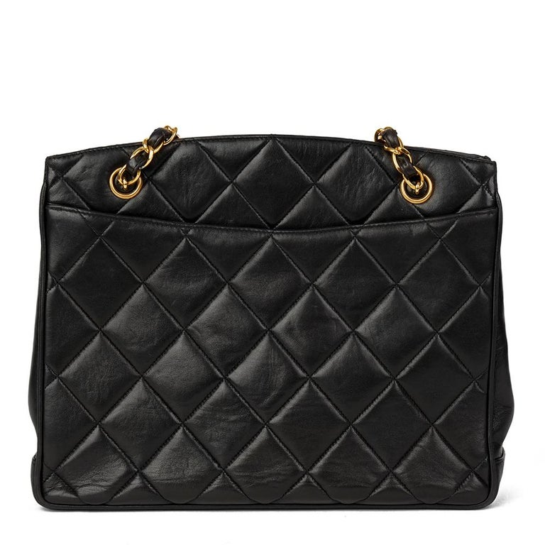 Women's 1994 Chanel Black Quilted Lambskin Vintage XL Timeless Shoulder Bag