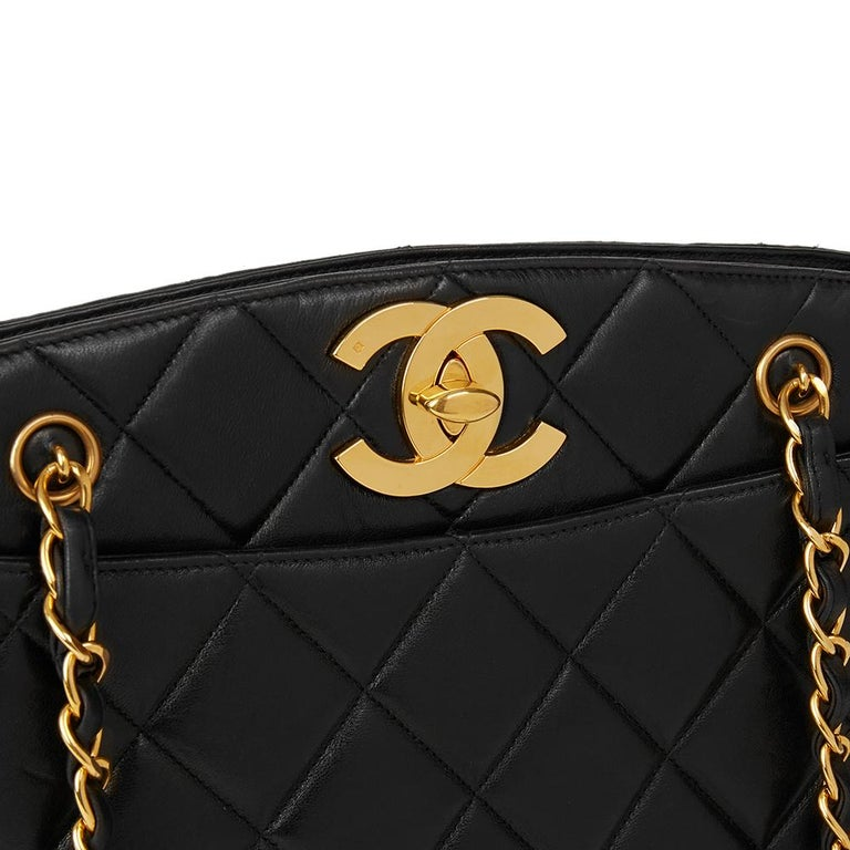 1994 Chanel Black Quilted Lambskin Vintage XL Timeless Shoulder Bag 2