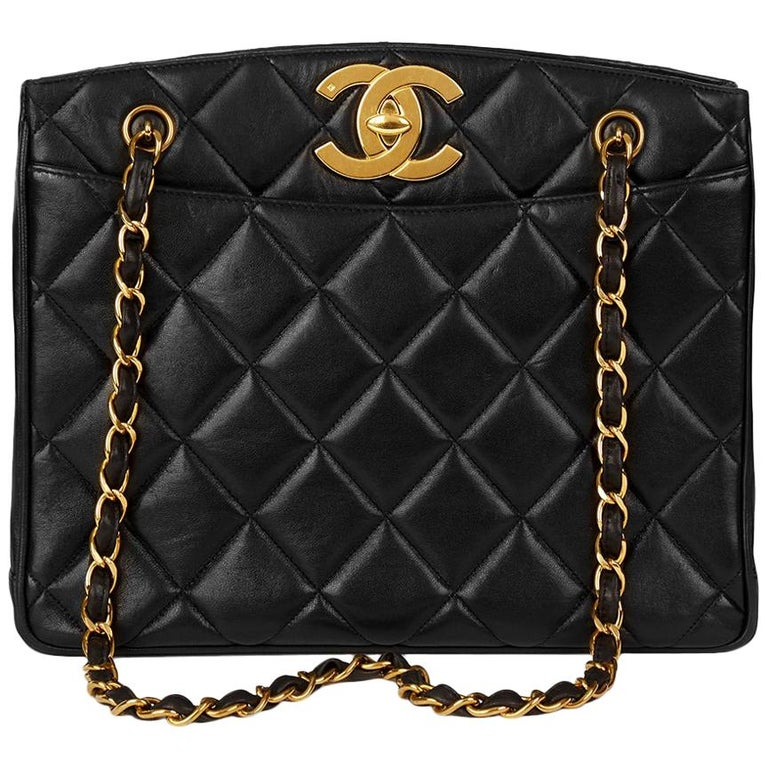 1994 Chanel Black Quilted Lambskin Vintage XL Timeless Shoulder Bag