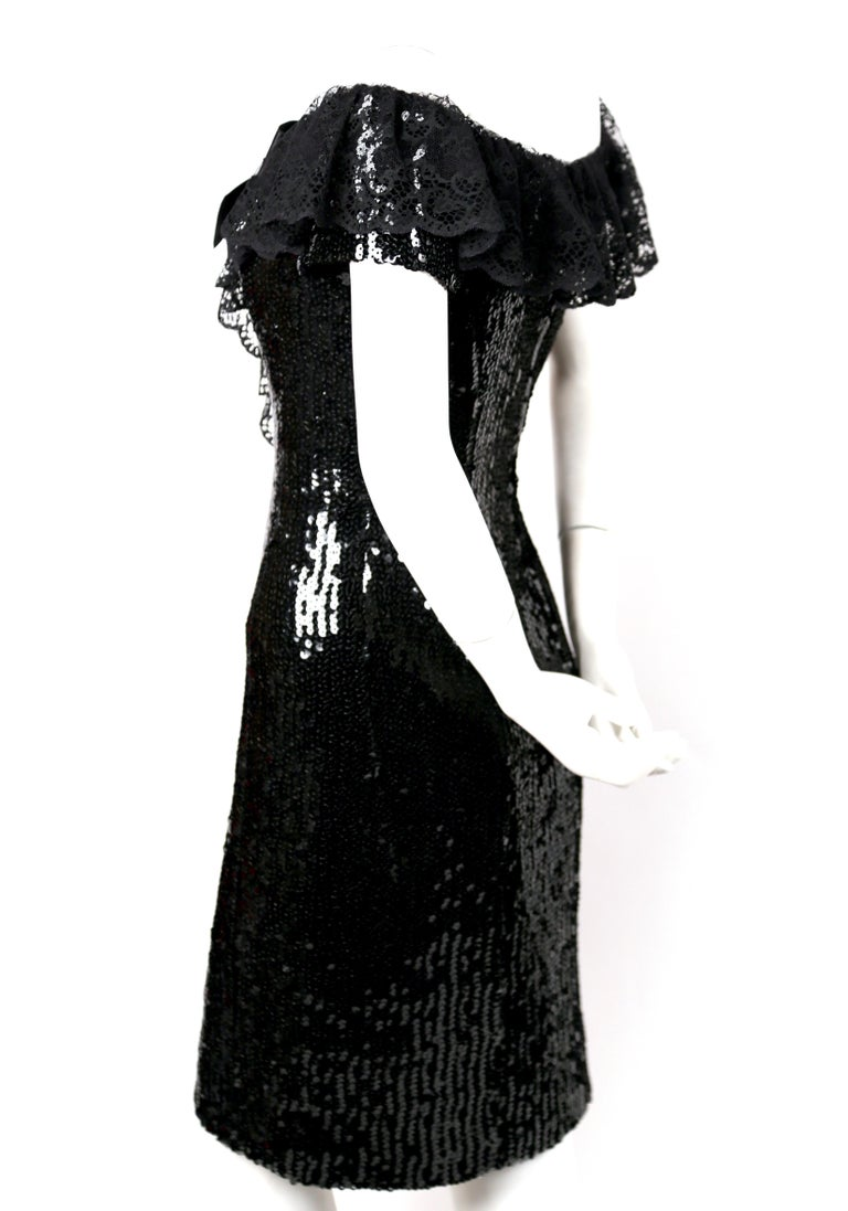 Black 1994 CHANEL black sequined dress with chantilly lace collar & satin bow For Sale