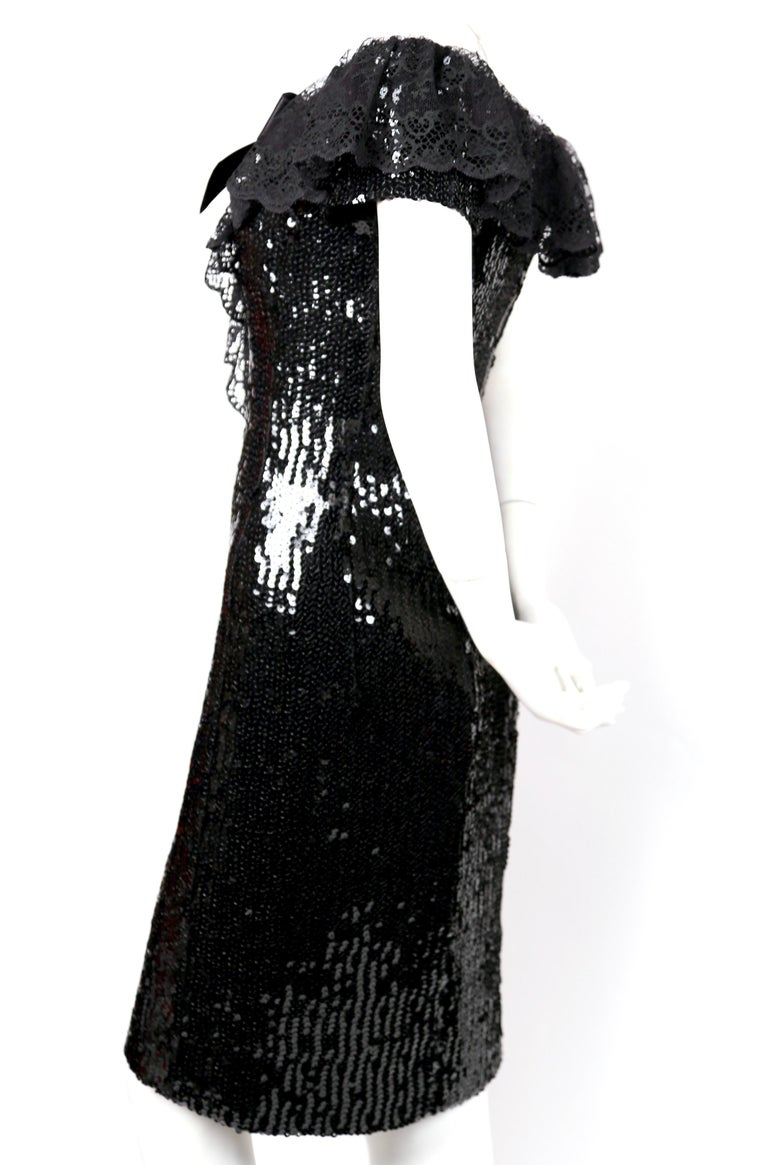 1994 CHANEL black sequined dress with chantilly lace collar & satin bow In Good Condition For Sale In San Fransisco, CA