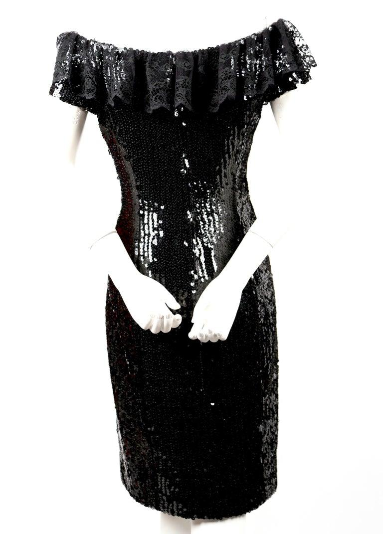 Women's or Men's 1994 CHANEL black sequined dress with chantilly lace collar & satin bow For Sale