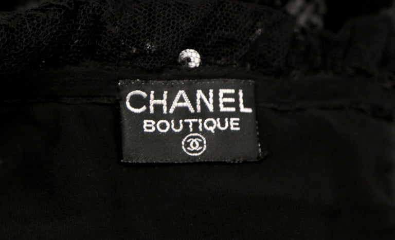 1994 CHANEL black sequined dress with chantilly lace collar & satin bow For Sale 1