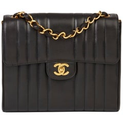 1994 Chanel Black Vertical Quilted Lambskin Vintage Classic Single Flap Bag