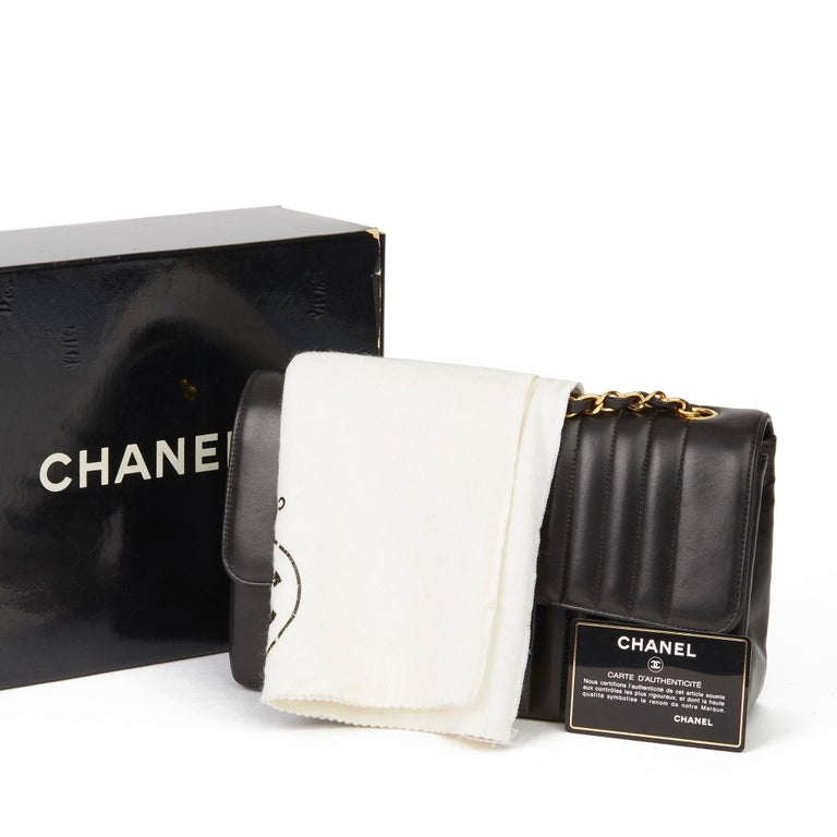1994 Chanel Black Vertical Quilted Lambskin Vintage Small Classic Double Flap Ba 8