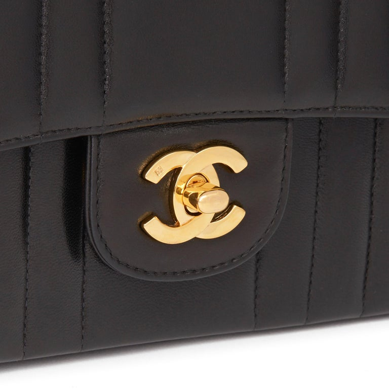 1994 Chanel Black Vertical Quilted Lambskin Vintage Small Classic Double Flap Ba 3