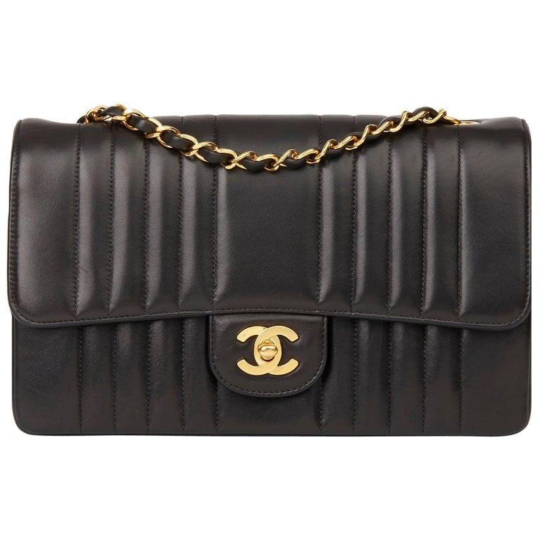 1994 Chanel Black Vertical Quilted Lambskin Vintage Small Classic Double Flap Ba