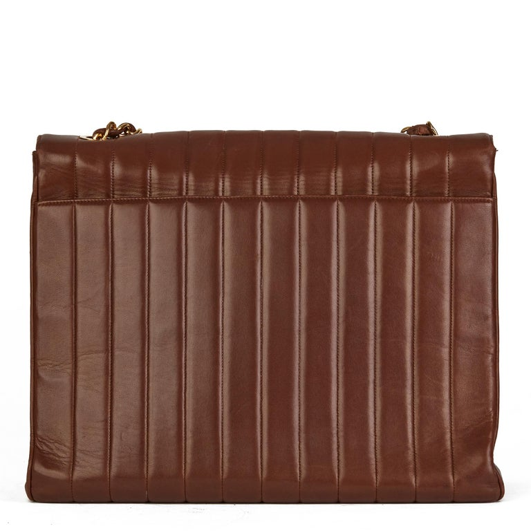 1994 Chanel Chocolate Brown Quilted Lambskin Vintage Maxi Jumbo XXL Flap Bag  For Sale 1