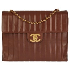 1994 Chanel Chocolate Brown Quilted Lambskin Vintage Maxi Jumbo XXL Flap Bag