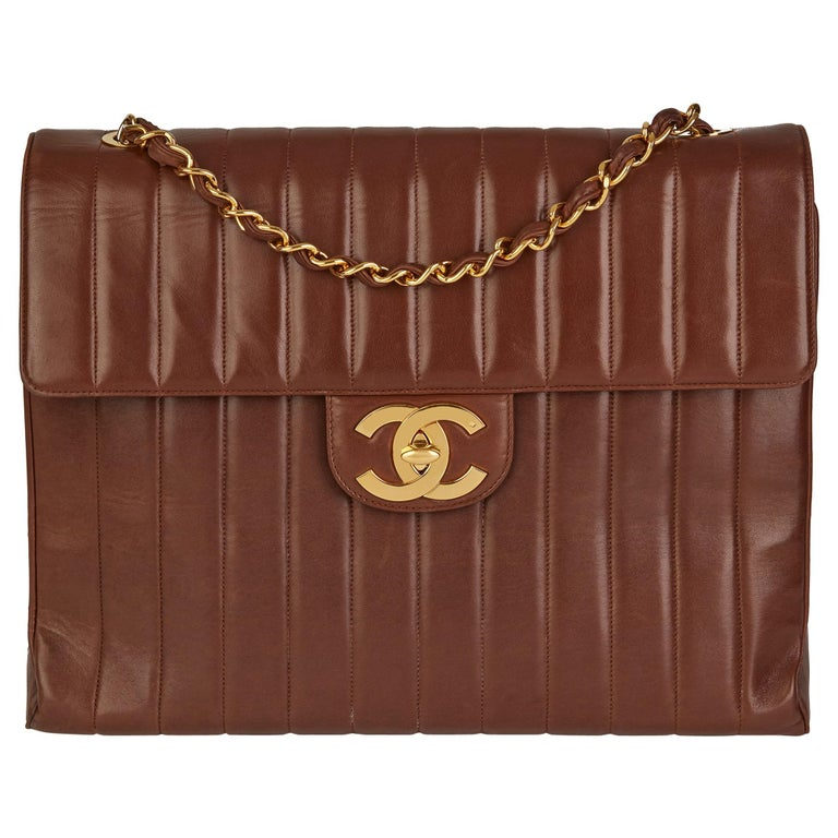 1994 Chanel Chocolate Brown Quilted Lambskin Vintage Maxi Jumbo XXL Flap Bag  For Sale