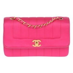 1994 Chanel Fuchsia Vertical Quilted Velvet Satin Small Classic Diana