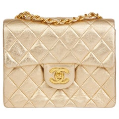 1994 Chanel Gold Metallic Lambskin Vintage Mini Flap Bag