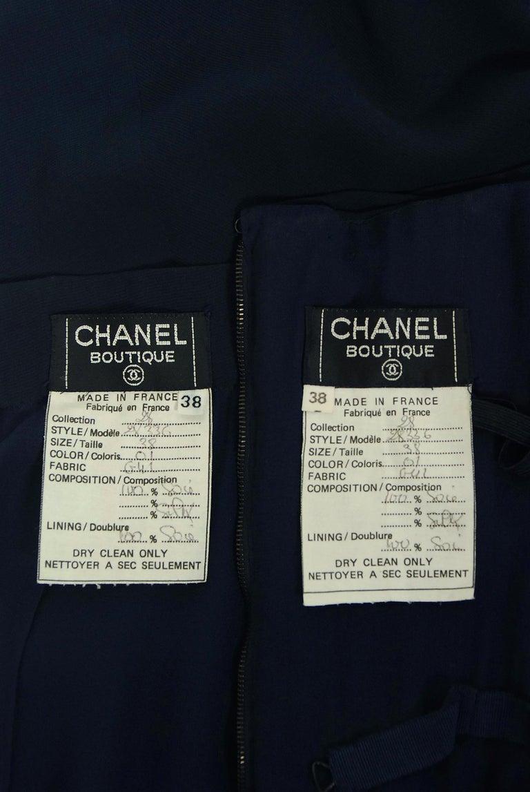 Vintage 1994 Chanel Navy-Blue Silk Halter Bustier & Asymmetric Draped Skirt For Sale 5