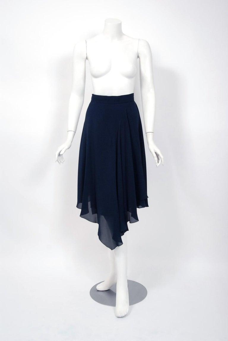 Women's or Men's Vintage 1994 Chanel Navy-Blue Silk Halter Bustier & Asymmetric Draped Skirt For Sale