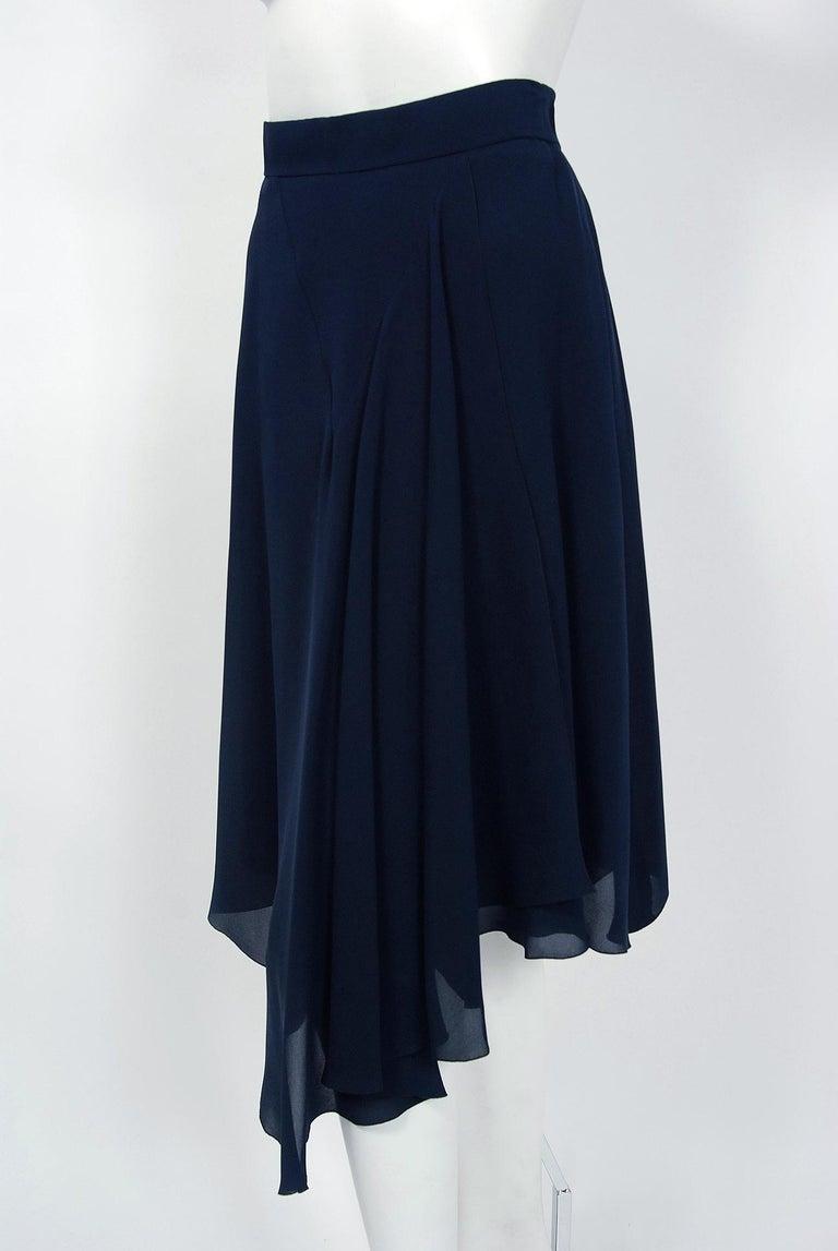 Vintage 1994 Chanel Navy-Blue Silk Halter Bustier & Asymmetric Draped Skirt For Sale 1