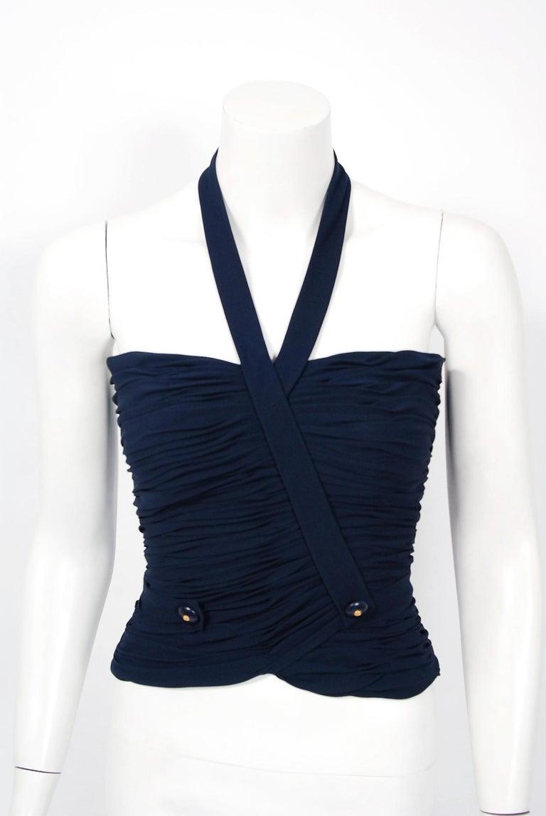 Vintage 1994 Chanel Navy-Blue Silk Halter Bustier & Asymmetric Draped Skirt For Sale 2