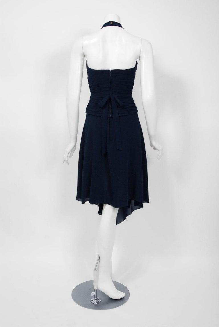 Vintage 1994 Chanel Navy-Blue Silk Halter Bustier & Asymmetric Draped Skirt For Sale 3
