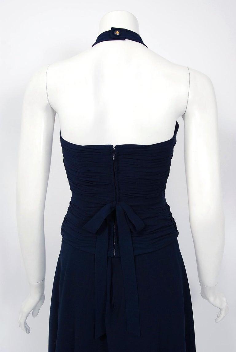 Vintage 1994 Chanel Navy-Blue Silk Halter Bustier & Asymmetric Draped Skirt For Sale 4