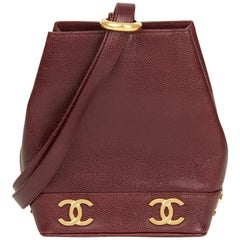 1994 Chanel Plum Caviar Leather Vintage Logo Trim Bucket Bag