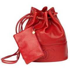 1994 Chanel Red Caviar Leather Timeless Bucket Bag with Pouch