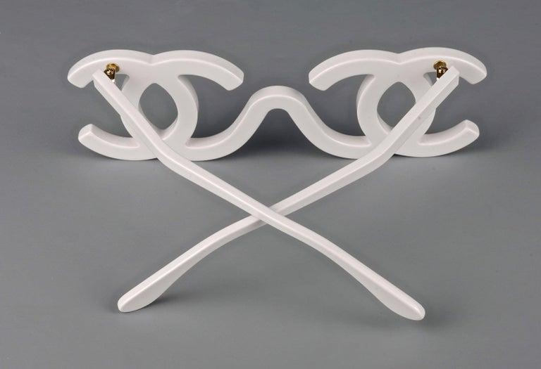 1994 CHANEL White CC Logo Futuristic Sunglasses For Sale 4