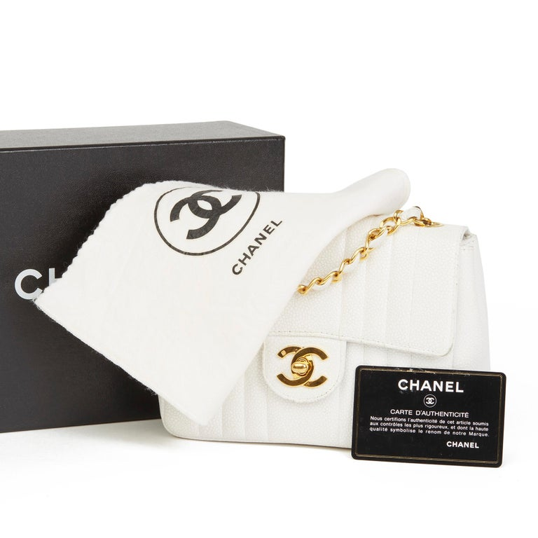1994 Chanel White Quilted Caviar Leather Vintage Mini Flap Bag For Sale 7