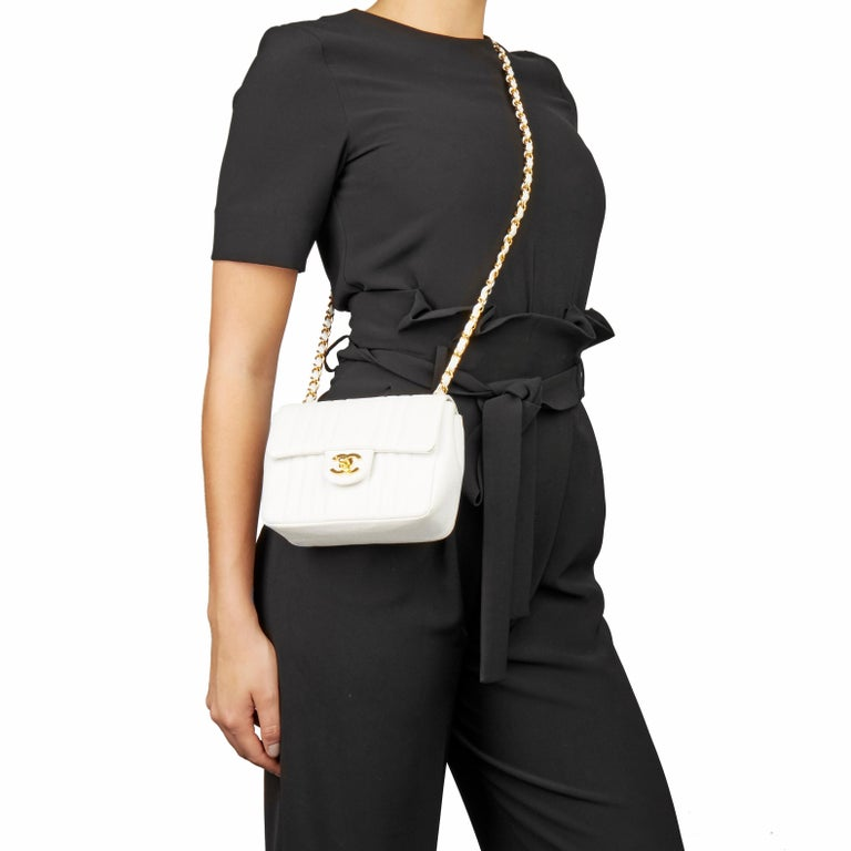 1994 Chanel White Quilted Caviar Leather Vintage Mini Flap Bag For Sale 8