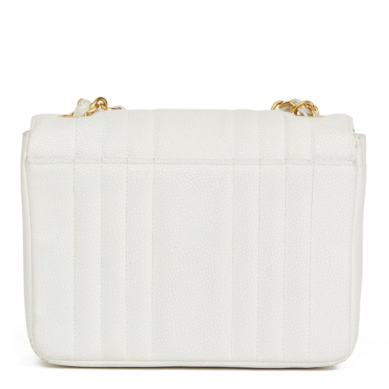 Women's 1994 Chanel White Quilted Caviar Leather Vintage Mini Flap Bag For Sale