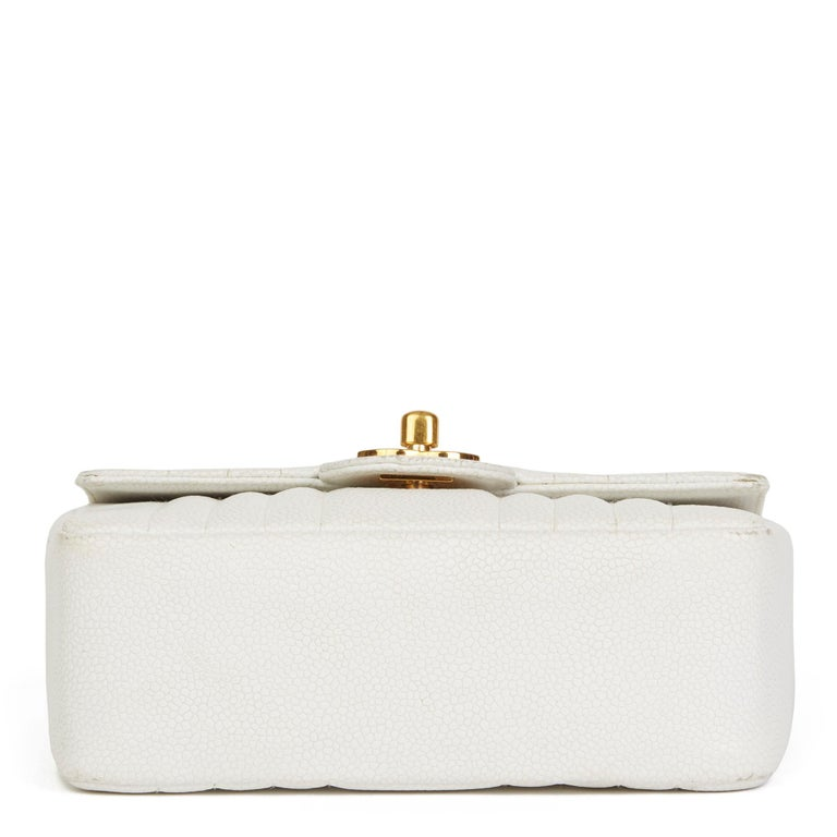 1994 Chanel White Quilted Caviar Leather Vintage Mini Flap Bag For Sale 1