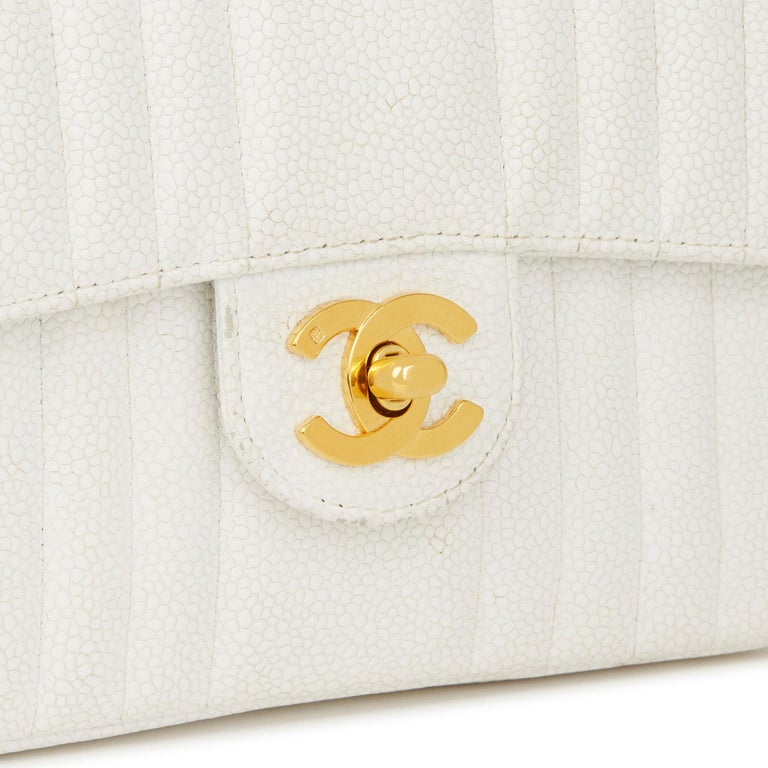 1994 Chanel White Quilted Caviar Leather Vintage Mini Flap Bag For Sale 2