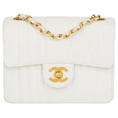 1994 Chanel White Quilted Caviar Leather Vintage Mini Flap Bag