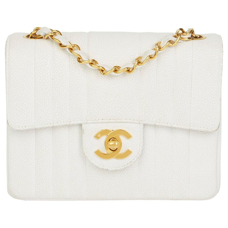 1994 Chanel White Quilted Caviar Leather Vintage Mini Flap Bag For Sale