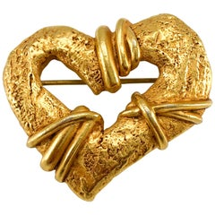 1994 Christian Lacroix Gold-Plated Heart Brooch, by Robert Goossens
