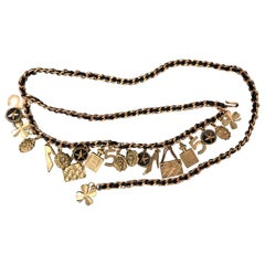 1994 Fall Runway CHANEL Gold Plated Charm Leather Chain Belt Necklace