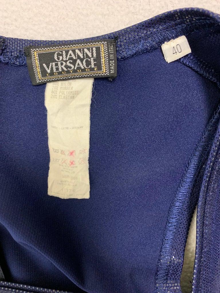 Black 1994 Gianni Versace Latex Wet Look Navy Blue Bodycon Dominatrix Dress