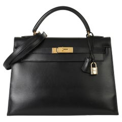 1994 Hermes Black Box Calf Leather Vintage Kelly 32cm Sellier