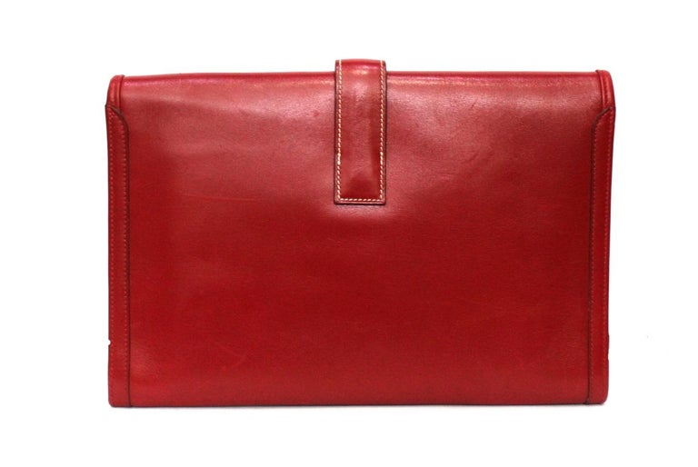 1994 Hermès Red Leather Jige Bag In Good Condition For Sale In Torre Del Greco, IT