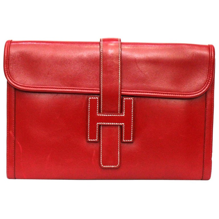 1994 Hermès Red Leather Jige Bag For Sale