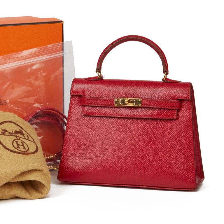 1994 Hermès Rouge Vif Courchevel Leather Vintage Kelly 15cm Sellier For Sale 5
