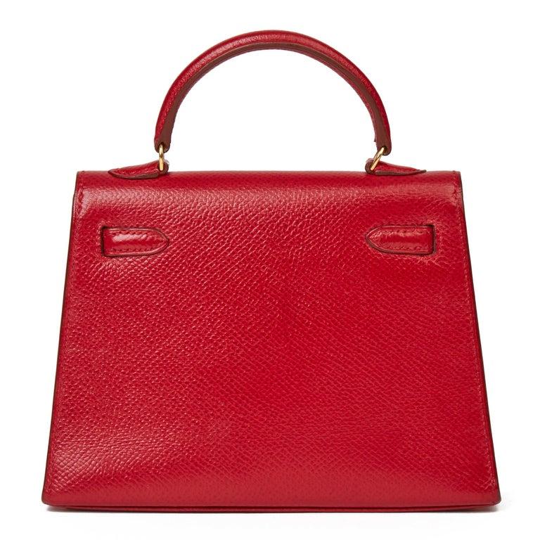 1994 Hermès Rouge Vif Courchevel Leather Vintage Kelly 15cm Sellier In Excellent Condition For Sale In Bishop's Stortford, Hertfordshire