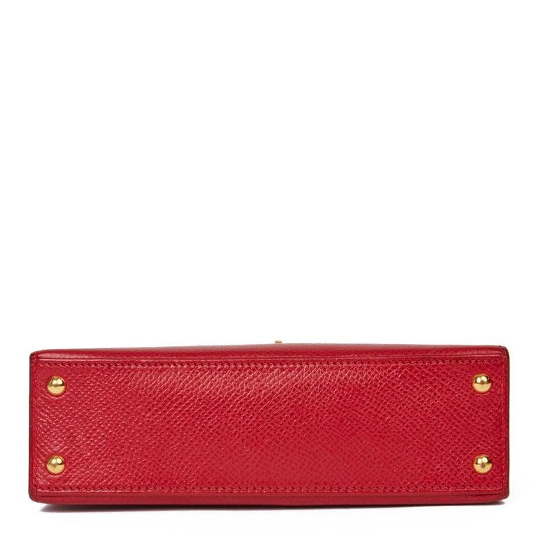 Women's 1994 Hermès Rouge Vif Courchevel Leather Vintage Kelly 15cm Sellier For Sale