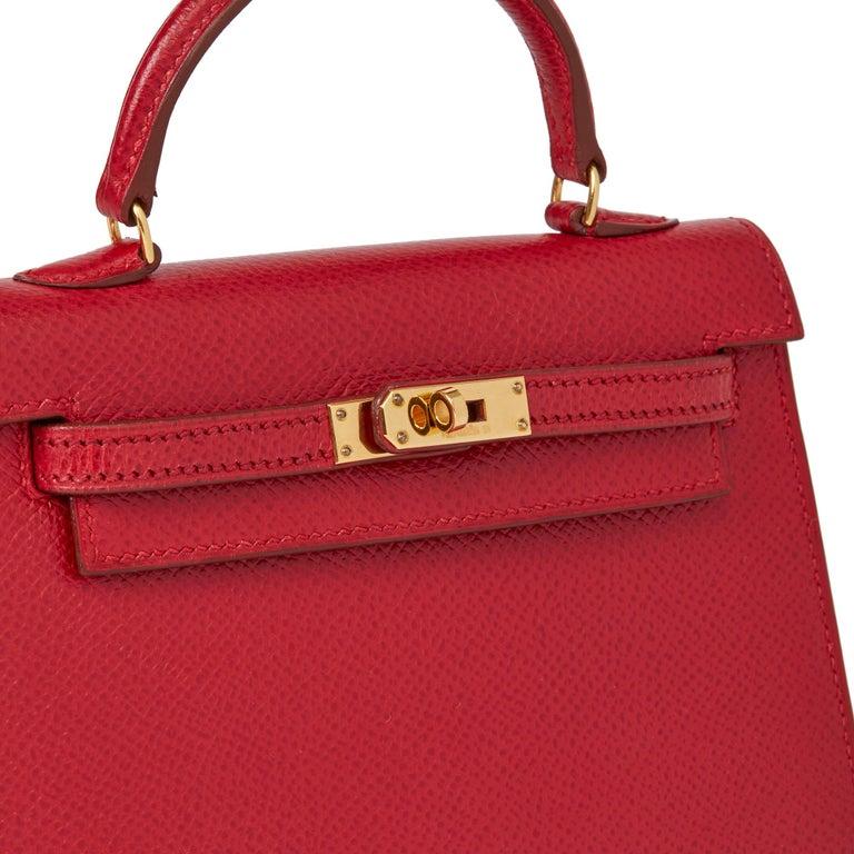 1994 Hermès Rouge Vif Courchevel Leather Vintage Kelly 15cm Sellier For Sale 1