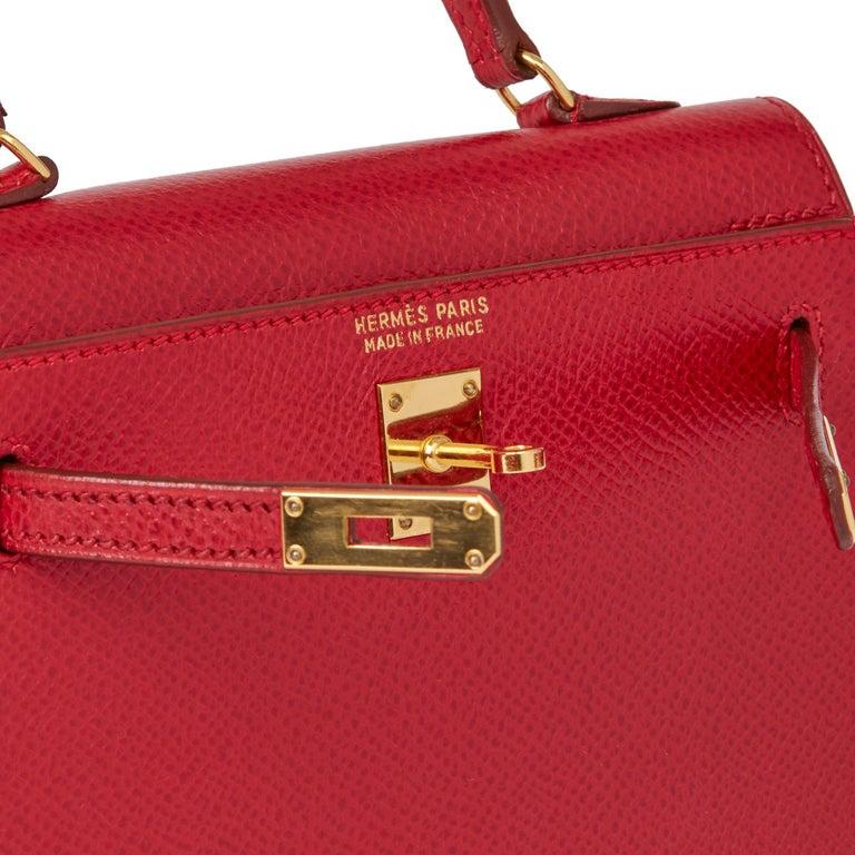 1994 Hermès Rouge Vif Courchevel Leather Vintage Kelly 15cm Sellier For Sale 2