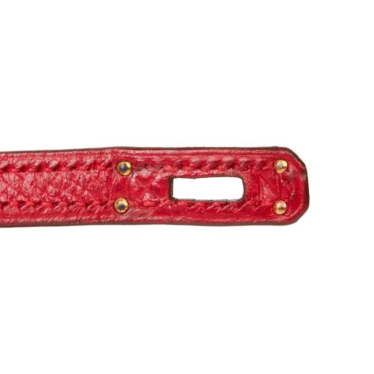 1994 Hermès Rouge Vif Courchevel Leather Vintage Kelly 15cm Sellier For Sale 3