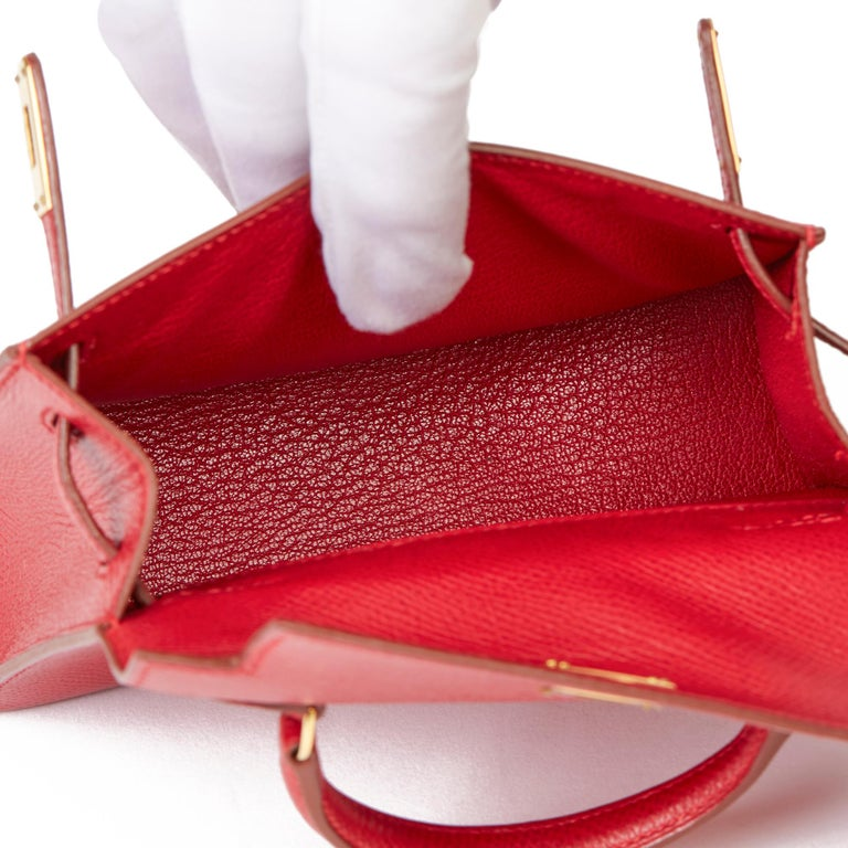 1994 Hermès Rouge Vif Courchevel Leather Vintage Kelly 15cm Sellier For Sale 4